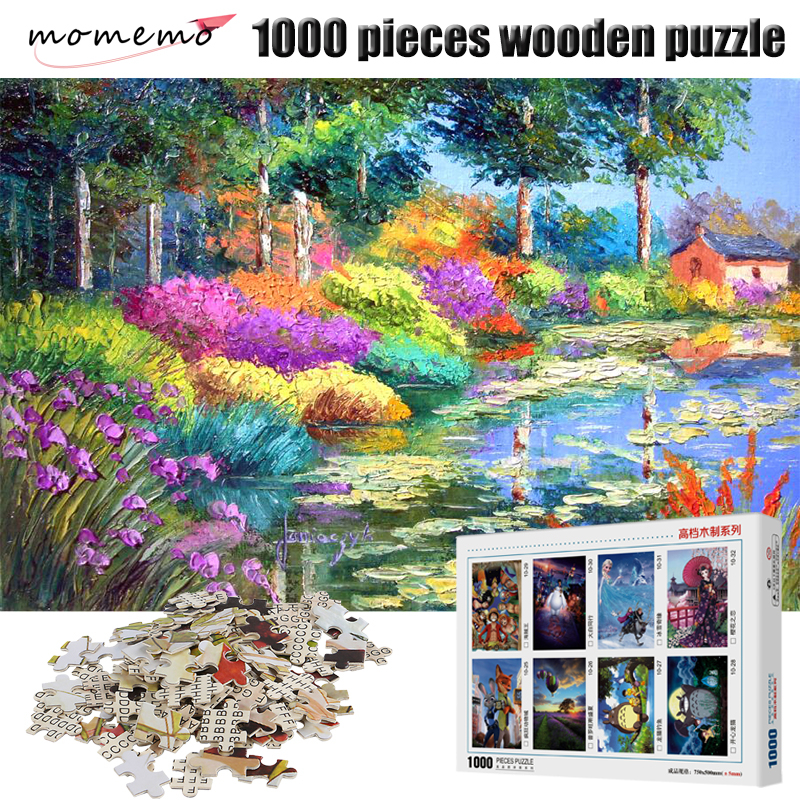 MOMEMO Scenery Beside The Pond Jigsaw Puzzles 1000 for Adults Wooden Puzzle Toy Games Children Toys