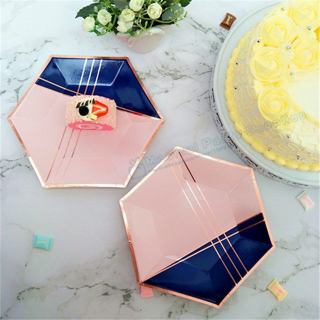 240pcs Rose Gold Hexagon Paper Plates Blush Pink Navy Blue Dishes First 1 Birthday Decorations Baby Shower Graduation Tableware