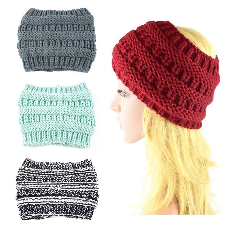 Knitted  Cap Woolen Head Cap Outdoor Warm Women Knitted Headbands Winter Warm Head Wrap Wide Hair Accessories