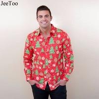 JeeToo Fit Mannelijke Kerst Patroon Jurk Shirts Mannen Mode Casual Lange Mouwen Gedrukt Shirt Merk Mannen Kleding Zachte Comfortabele