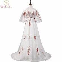 Yürüyüş Yanında Size Abiye Işık Fildişi Renkli Nakış balo kıyafetleri Kısa Kollu Kapalı Omuz Uzun vestido festa