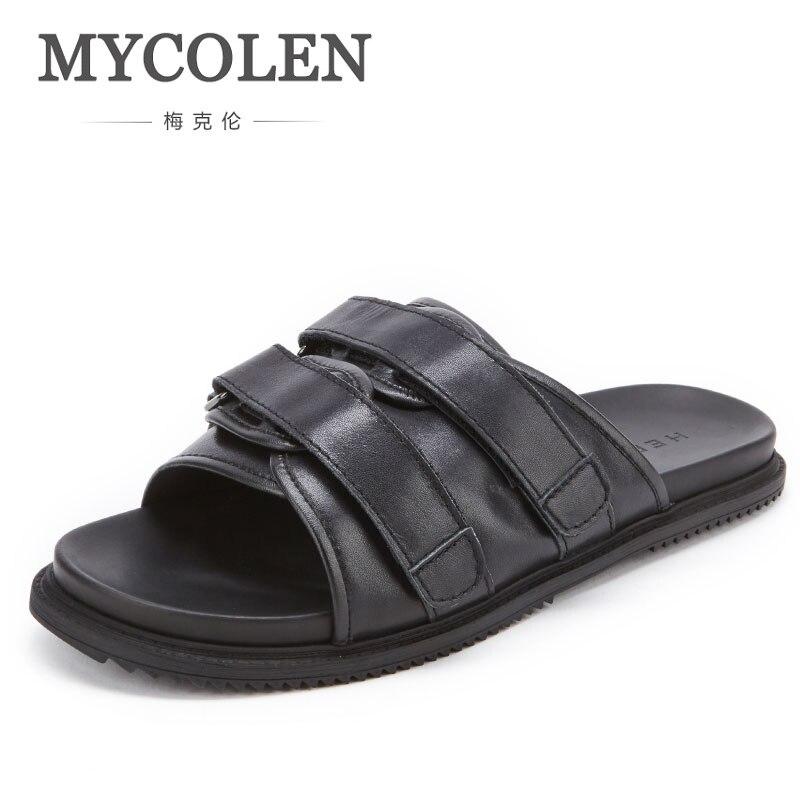 MYCOLEN/мужские шлепанцы; Летняя мужская обувь на плоской подошве; Новинка; Модные дышащие пляжные шлепанцы на танкетке; черные мужские брендов