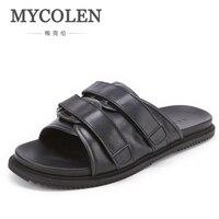 MYCOLEN/мужские шлепанцы; Летняя мужская обувь на плоской подошве; Новые Модные дышащие пляжные тапочки на танкетке; черные мужские Брендовые м