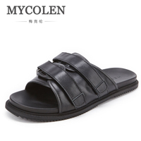 MYCOLEN Men Slippers Summer Flat Summer Men Shoes New Fashion Breathable Beach Slippers Wedge Black Men Brand Mens Flip Flops