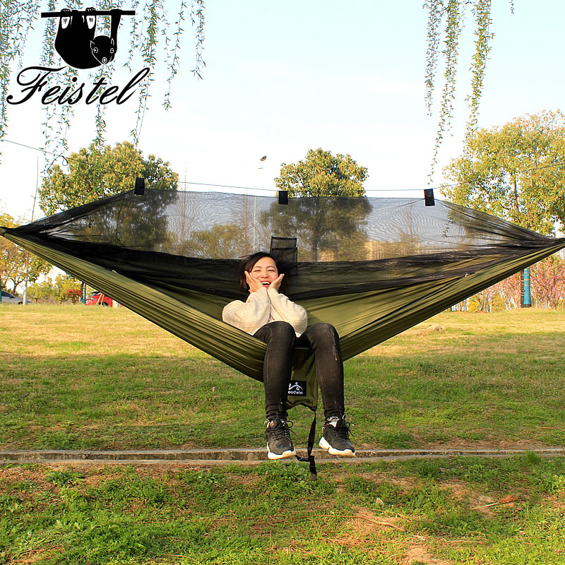 328 Promotion 260*140cm 300*140cms three colors outdoor camping single mosquito net hammock