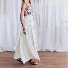Sexy Summer Beach Dress ladies Long Maxi Vintage Boho Dress White Printed Long Evening Party Casual Wrap Bandage Dress Sundress