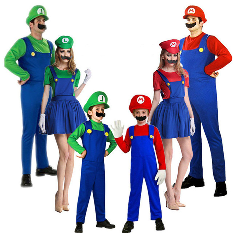New Super Mario Cosplay Costumes Kids Adult Funy Luigi Bros Plumber Purim Cartoon Fancy Ball Dress Family Christmas Party Suit
