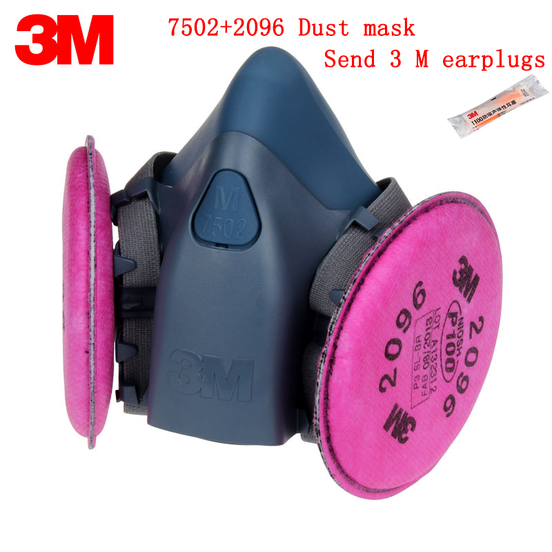 3M 7502+2096 respirator dust mask Genuine security 3M respirator mask against Acid gas dust welding particulates filter mask 3m 6300 6003 half facepiece reusable respirator organic mask acid face mask organic vapor acid gas respirator lt091