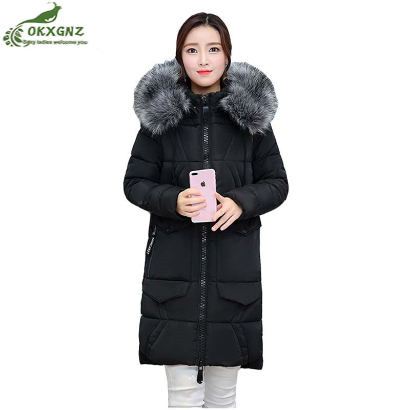 Winter new women Outerwear Fur collar thick loose Down cotton coat medium long section large size warm jacket coat female OKXGNZ winter feather cotton women outwear long section thick section slim hooded coats large fur collar large size down jacket lx165