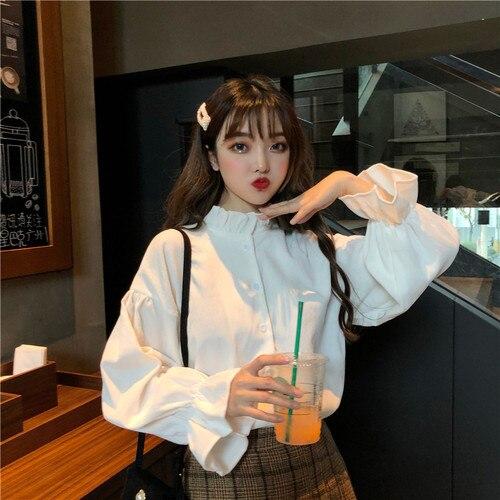 Nouveau Style coréen oreille col manches longues hauts pour femmes dentelle et manches cloche Blouse Femme Manche Longue mode et slip
