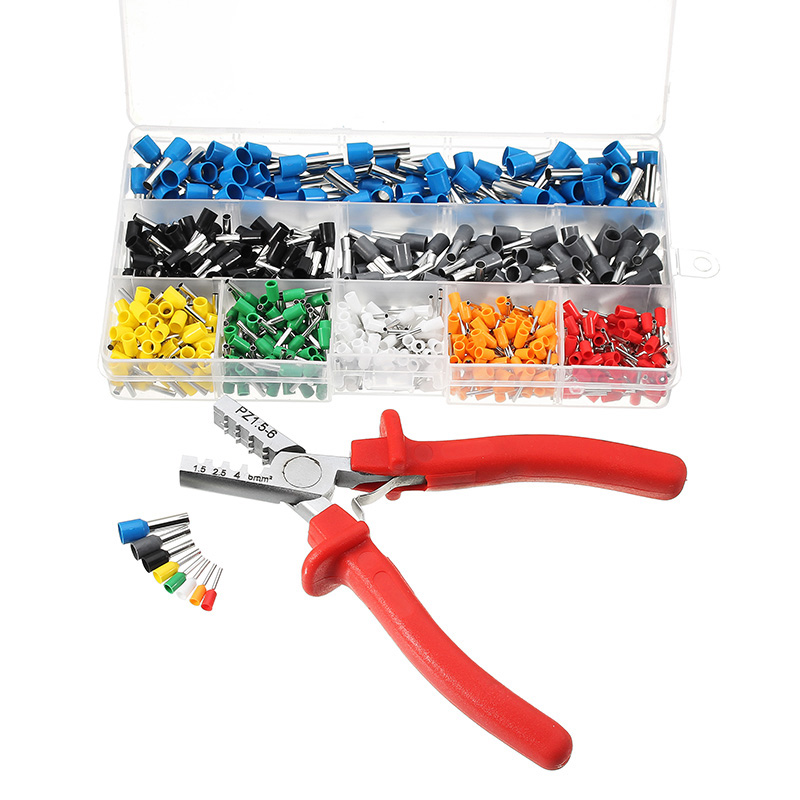 Ferrule Crimper Plier + 800 Pcs Crimping Terminals Sets AWG23-10 Wire Cable Tube Multi Hand Tools 800 multi