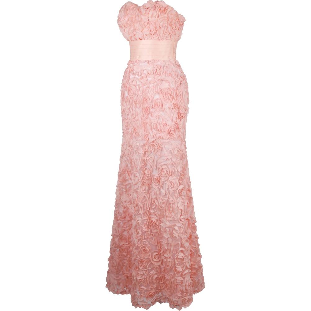 Angel fashions gasa del hombro flores acanalada vestidos DE noche ...