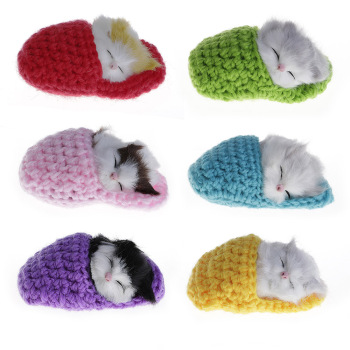 Cute Sleeping Cats Simulation Sounding Shoe Kittens Wool Knitting Toys For Kids (Random delivery )