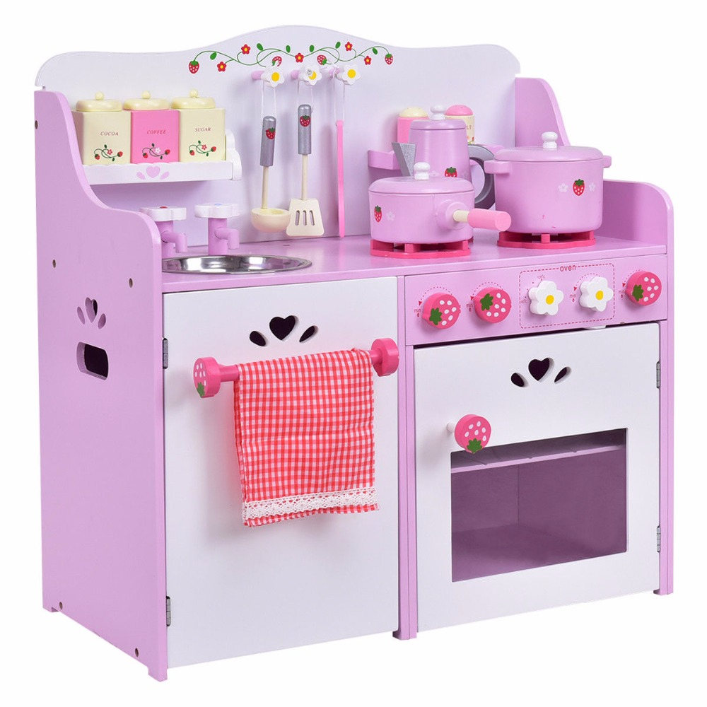 Goplus Kids Wooden Pretend Play Set Kitchen Cook Toy Pink Strawberry Pretend Cooking Playset Toddler Baby Gifts New TY570391