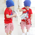 Baby Cartoon Cotton Apple Print Shirts+Striped Short Pants Kids Outfits 2PCs  Free Shipping