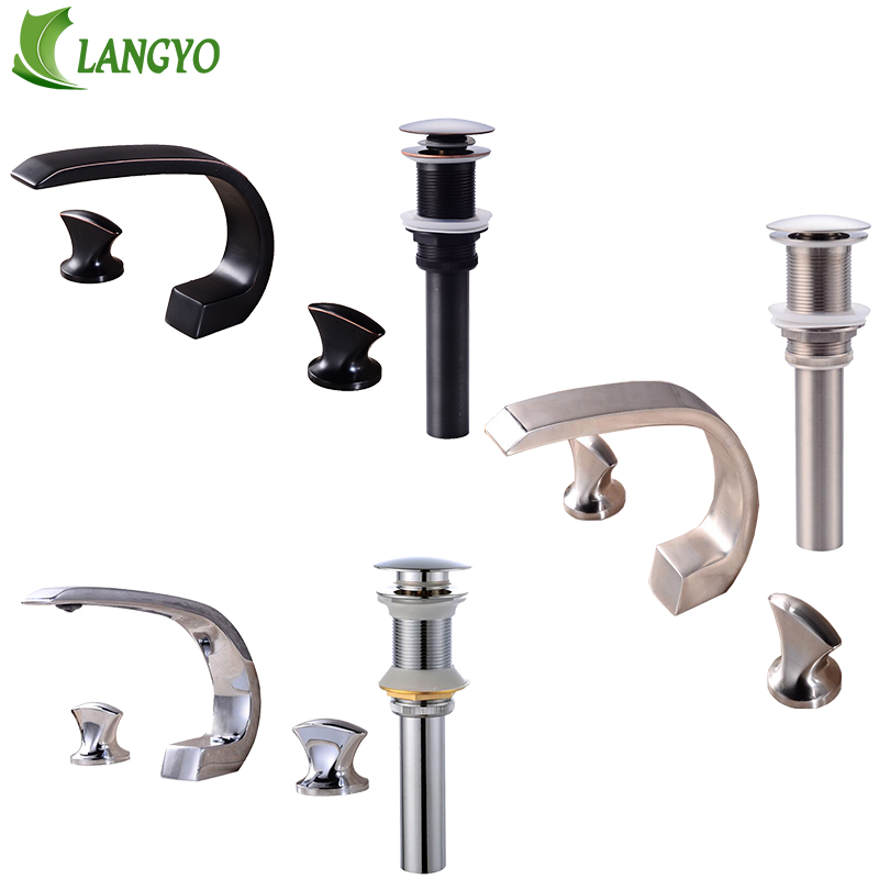 цена Nordic Style Basin Faucet Chrome Plate 3 Hole Bathroom Sink Faucet Deck Mounted Cold Hot Vintage Sink Black Faucet Mixer Tap