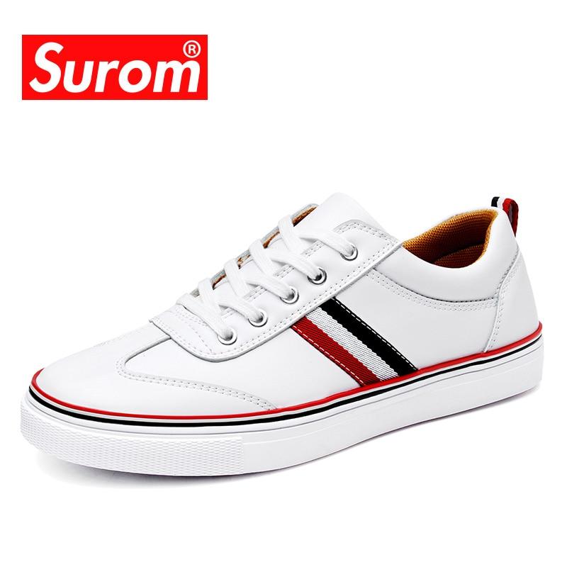 SUROM Fashion Top Brand Män Casual White Shoes Högkvalitet Spring - Herrskor