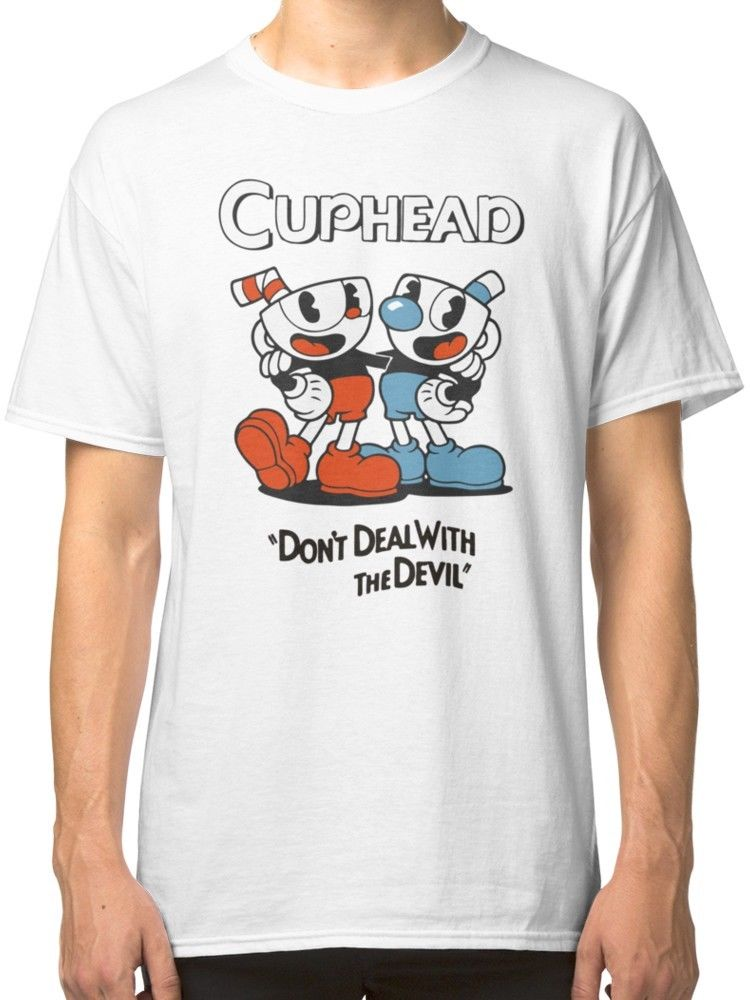 US $11 84 21% OFF|Cuphead Mugman Don't Deal with The Devil Inspired Men's  Clothing T Shirts Tees Tees Custom Jersey t shirt-in T-Shirts from Men's