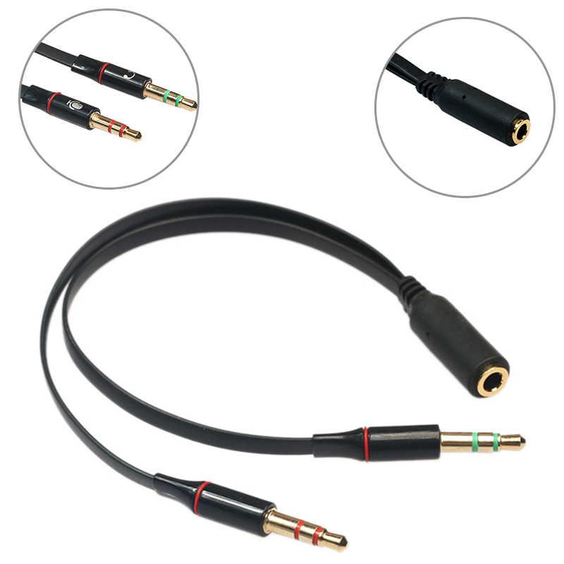 2 الألوان الفاصل سماعة للكمبيوتر 3.5 مللي متر الإناث إلى 2 الذكور 3.5 مللي متر Mic الصوت Y الفاصل كابل سماعة إلى PC محول محول