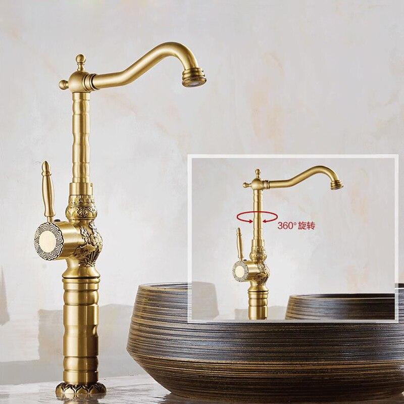laiton antique robinet mitigeur de cuisine /à levier Lavabo Robinets Girafe robinet de lavabo avec bec pivotant