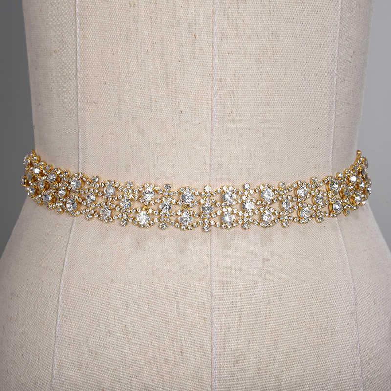 ¡En Stock! ¡Rápido! Cinturón de diamantes de imitación hecho a mano vestido de novia cristal cinturón de novia faja cinturón cinta de raso para boda Accesorios