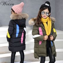 Good Quality Winter Jacket For Girls Green Hooded Parka Outerwear Kids Long Style Fur Hat Warm Jacket Baby Girl Outdoor Coat цена и фото