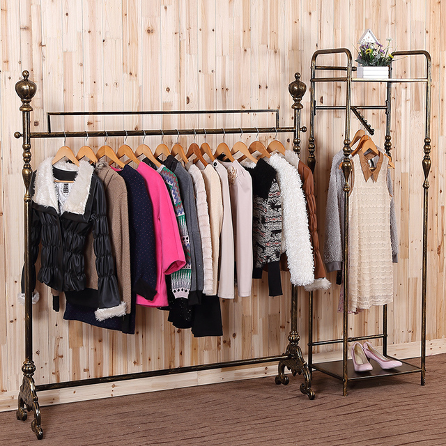 High End Clothing Store Display Racks Wrought Iron Rack For Hanging