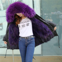 Real Fox Fur Lined Parka 2018 New Long Women Winter Coats Women Natural Raccoon Fur Jacket Luxury Large Detachable Collar Parkas
