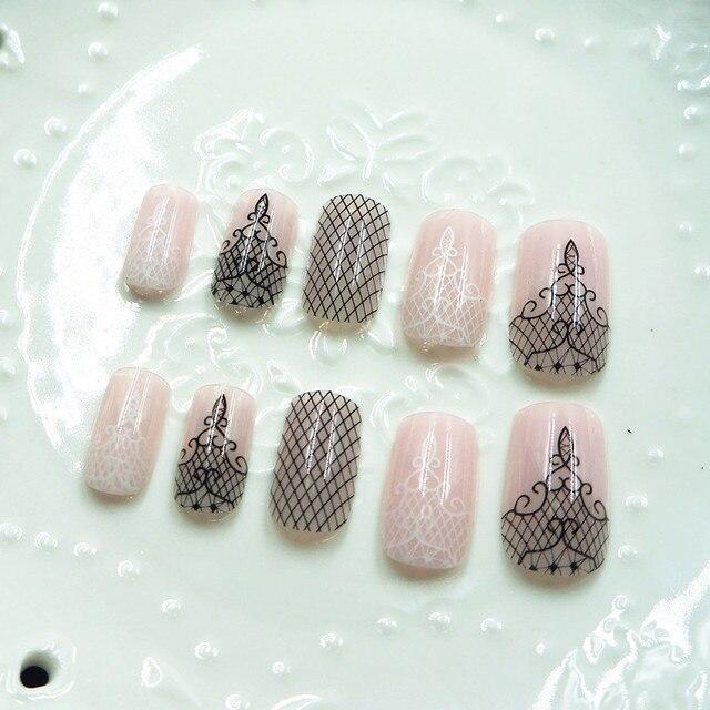 6 Designs 24pcs Full Cover False Nails Star Fake Nail With Glue