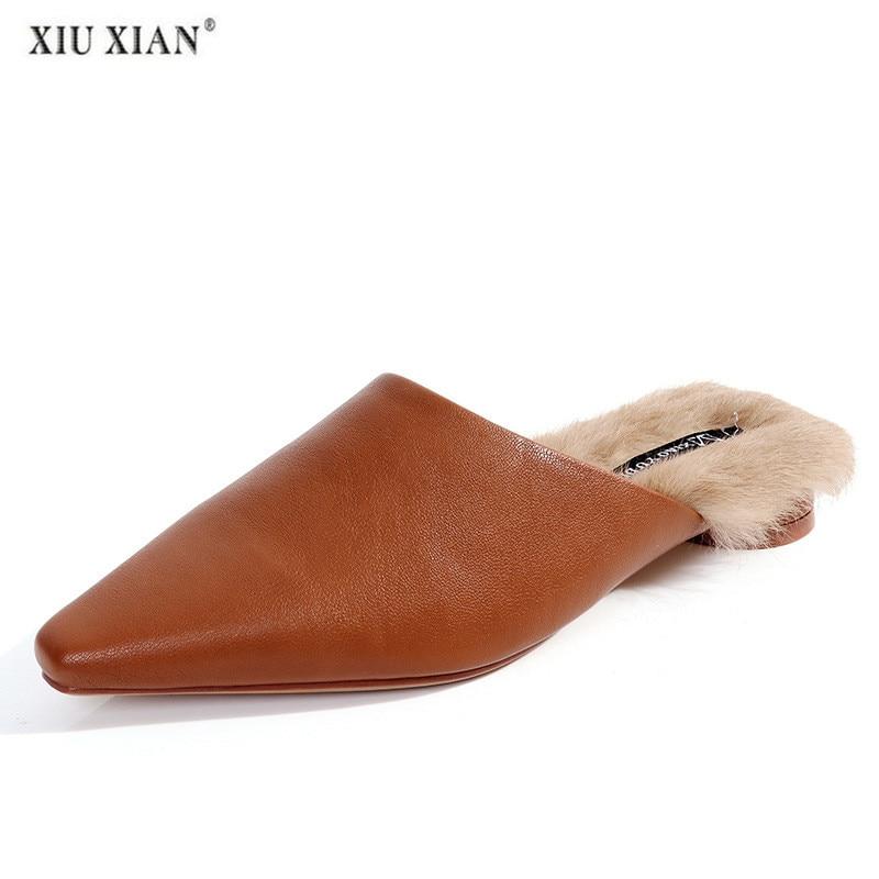 brown Pantoufles Chaussures Hiver Fourrure Dames Femmes Pantoufle Poussoir Femme Maison Automne black À D'intérieur 2018 Beige tgZHq