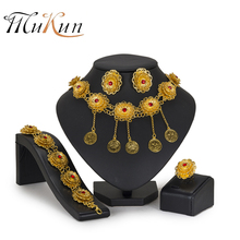 MUKUN African beads jewelry set Nigerian Wedding Jewelry Set For Women brand Choker pendant Jewellery Bridal Indian Jewelry Set недорого