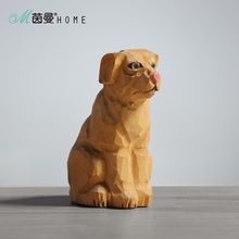 Simple Wood Carving Puppies Crafts Home Table Ornaments Animal DecorationA325