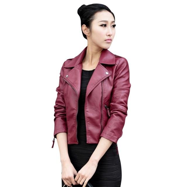 ffd1146b7b5 2016 Для женщин Кожаные Мотоциклетные молнии воротник в стиле панк куртка  для байкеров пальто Модная Верхняя