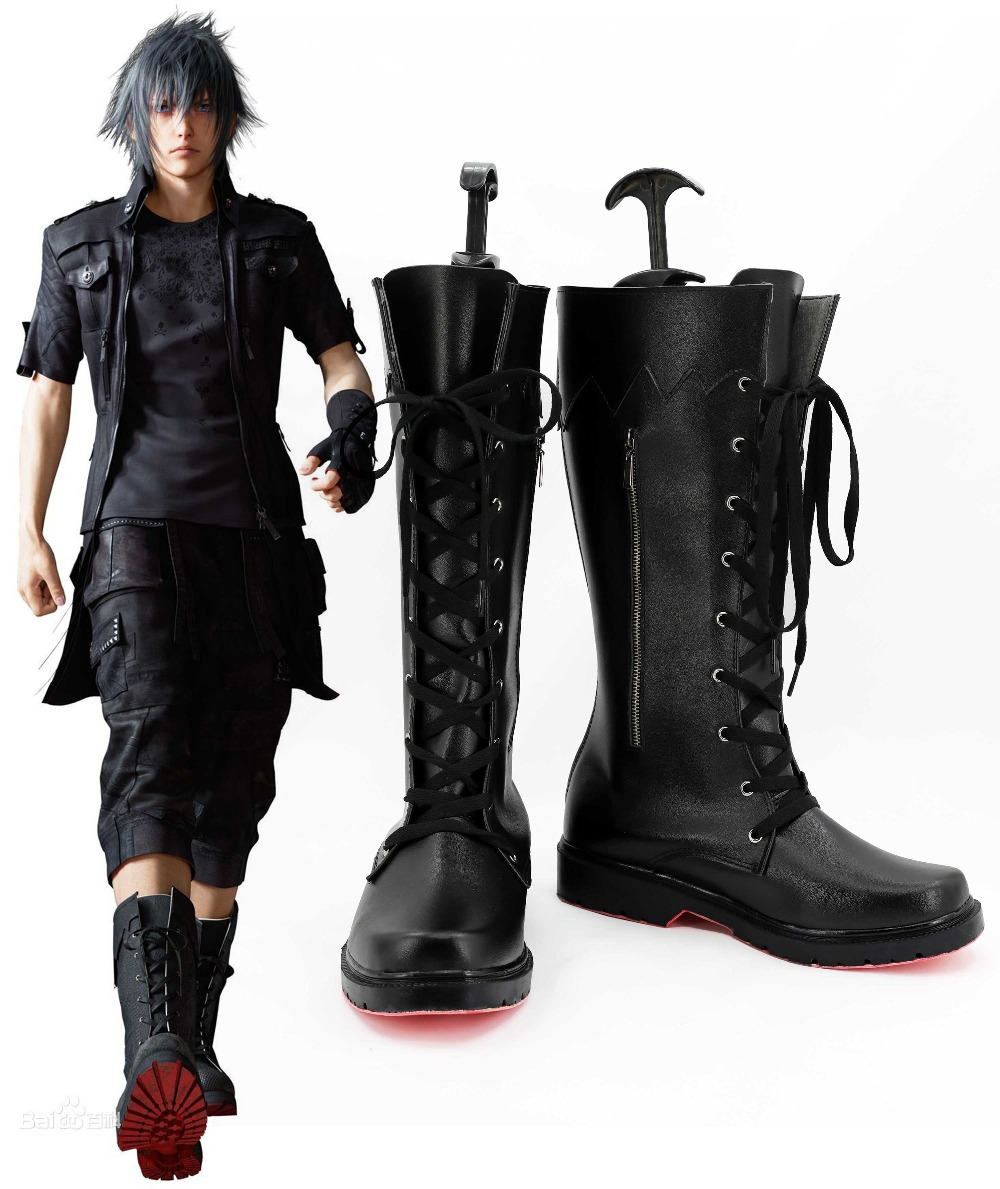 Free Shipping Final Fantasy XV Noctis Lucis Caelum Black Boots Anime Cosplay Shoes For Adult Men Women