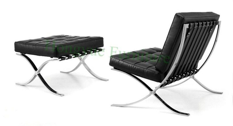 Modern leather one seat reclining lounge leather barcelona chair
