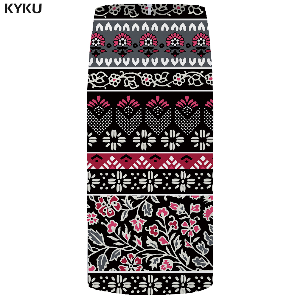 KYKU Brand Spider Web Skirts Women Black Party Floral Gothic Pencil 3d Print Skirt Vintage Ladies Skirts Womens Casual Summer
