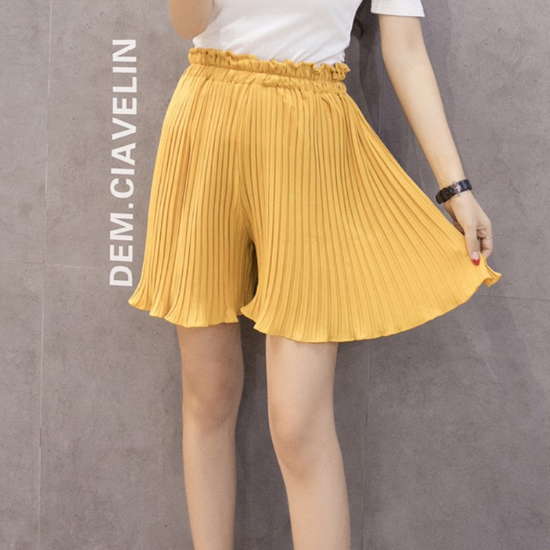 2019 Summer Loose Casual Chiffon   Short   Pants Female Korean Pleated   Shorts   Women High Waist Wide Leg Skirt   Shorts   Large Size