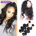 7A Brazilian Body wave With 360 Frontal Body Wave Brazilian Hair With Closure 360 Lace Frontal With Bundle 100 Virgin Human Hair