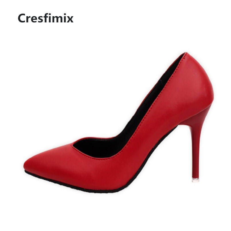 Cresfimix femmes hauts talons women fashion comfortable slip on pu leather high heel shoes lady cute sweet office shoes b2915 women high quality pu leather waterproof platform shoes lady cute and sexy party slip on pumps female office high heel shoes