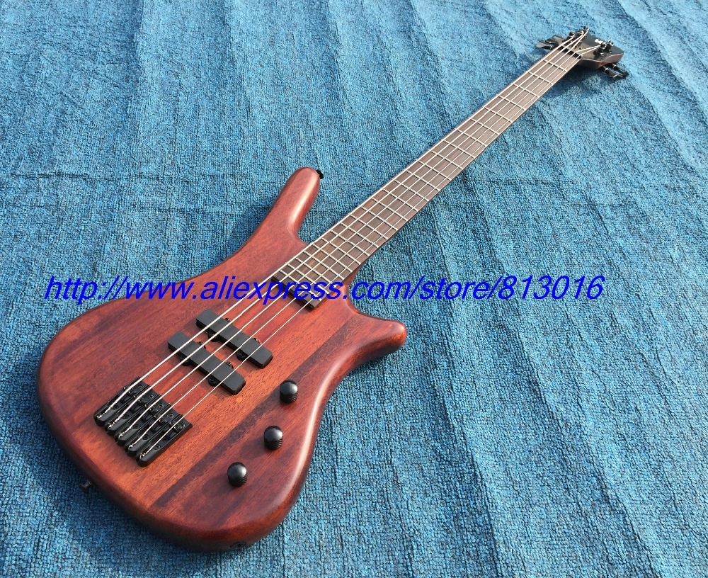Hot ! custom-made electric bass guitar semi glossy finished brown color like playing years effect .black parts!