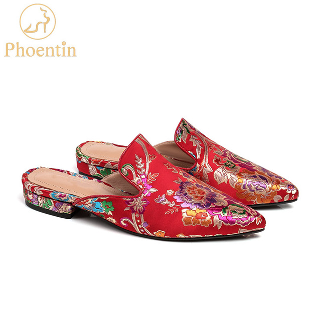 Phoentin Chinese red embroider slippers outdoor 2018 flower print silk and  satin women slippers flat with 166d25dc65c6