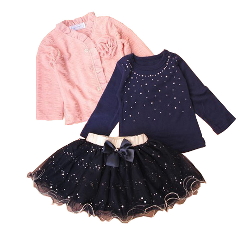 retails new 2016 spring baby girls clothing sets 3 pieces suit flower coat + blue T shirt tutu skirt clothes - lucy ren's store