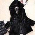 Новое Прибытие Подлинная Рекс Кролика Шуба Женщины полный пелт рекс кролика Зима густой Мех Кролика куртка
