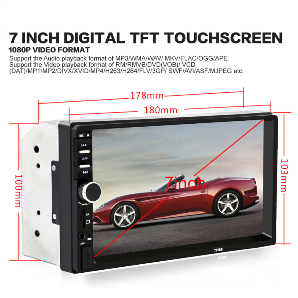 2017 7018B 7 Inch Bluetooth Audio In Touch Screen Car Radio Car Audio Stereo Car MP3 MP5 Player USB Support for SD/MMC Hot Sale vehemo hot sale 4 1 inch touch screen car mp5 stereo radio audio support rear camera 12v car bluetooth player handsfree