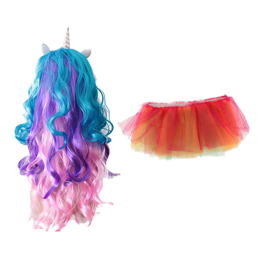 Girls Rainbow Unicorn Horn Long Hair Wig Glow in the Dark Tutu Skirt Fancy Dress Costume Stage Performance Props