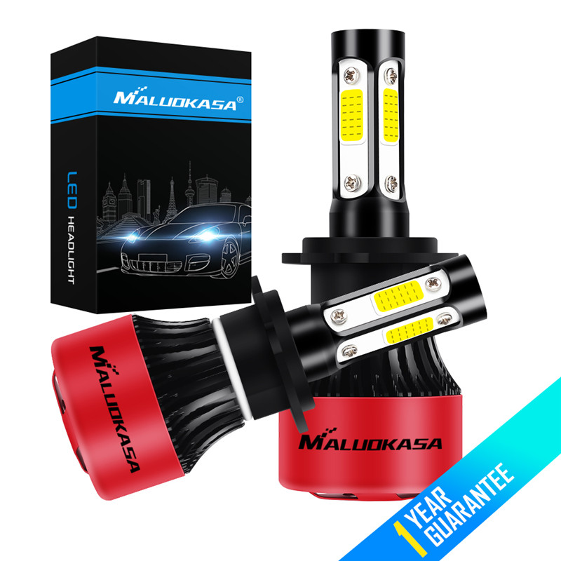 MALUOKASA 4 Side Lumens COB 100W 16000lm H4 Hi lo H7 H11 9005 9006 Car LED Headlight Bulbs Auto Led Headlamp Fog Lights 12V 24V 9006 11w 600lm white led car foglight headlamp w 1 cree xp e 4 cob dc 12 24v