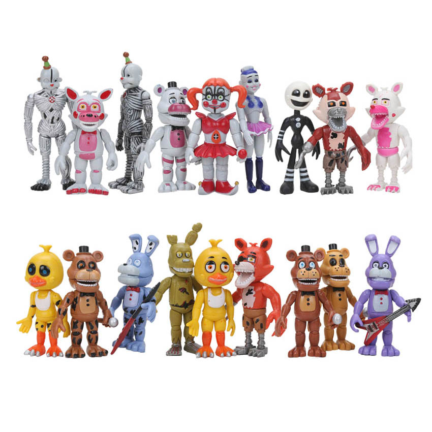 Action & Toy Figures Humor 18pcs/set Fnaf Five Nights At Freddys Funtime Baby Pizza World Ballora Foxy Freddy Bear Ennard Springtrap Action Figures Toys