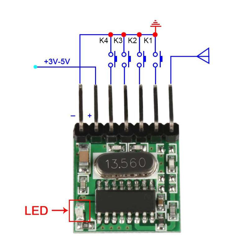 100pcs 433 MHz RF Transmitter Superheterodyne Learning Code 1527 Encoding 433Mhz Remote Control Switch For Arduino Module DIY in Remote Controls from Consumer Electronics