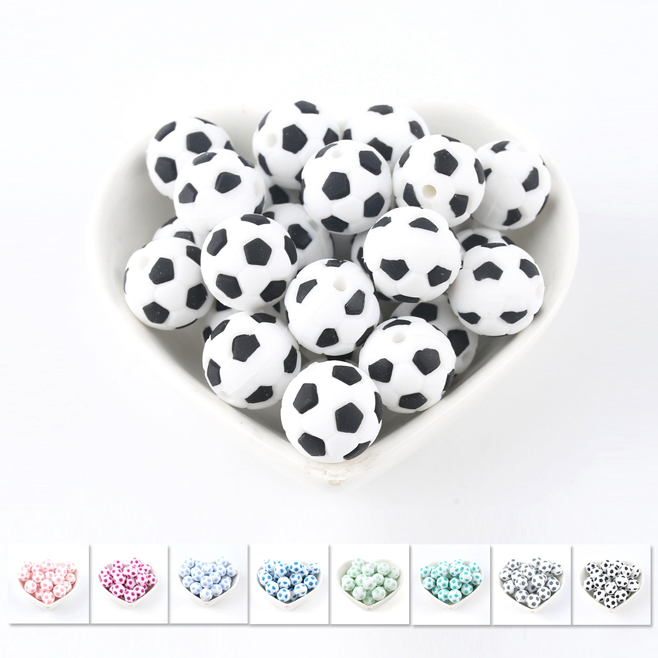 Bite Bites Small Football Silicone Beads 5PC DIY Pacifier Chain Jewelry Accessories Necklace Soccer Food Grade Silicone Teether