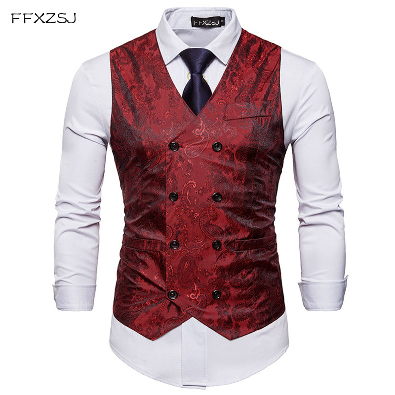 Men Double Breasted Dress Vests Chaleco Sleeveless Gilet Slim Printed  Sleeveless Waistcoat Men Suit Hombre For Party Wedding cardigan